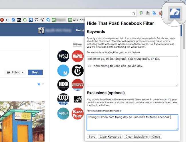 Hide That Post Facebook Filter