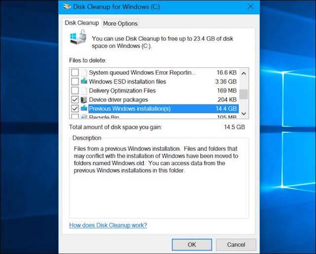 Cách giải phóng hơn 10GB ổ cứng sau khi cài Windows 10 Anniversary Update