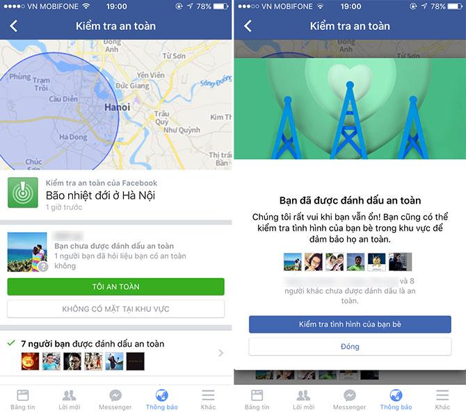 Facebook bật tính năng kiểm tra an toàn sau cơn bão tại Hà Nội