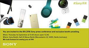 """Sony hé lộ sẽ ra cả """"rổ"""" sản phẩm mới tại IFA 2016"""
