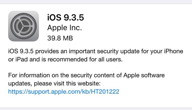 Apple phát hành bản cập nhật iOS 9.3.5 để vá lỗ hổng quan trọng
