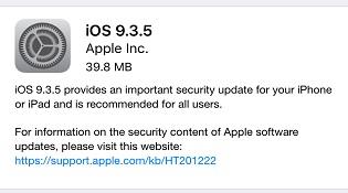 Apple phát hành iOS 9.3.5 để vá lỗ hổng quan trọng