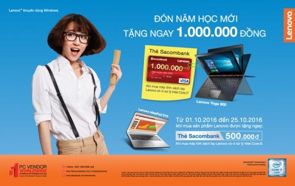 Tiếp tục tặng ngay 1 triệu đồng khi mua máy tính Lenovo