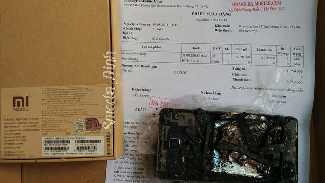 Xiaomi Mi4 phát nổ trong túi quần khách hàng ở Việt Nam