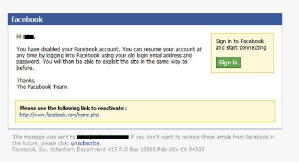 Email lừa thông báo khóa tài khoản Facebook