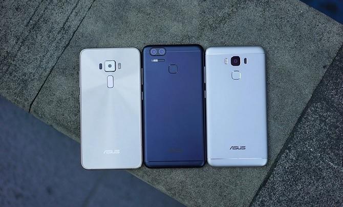 Theo thứ tự: ASUS ZenFone 3, ZenFone 3 Zoom, ZenFone 3 Max