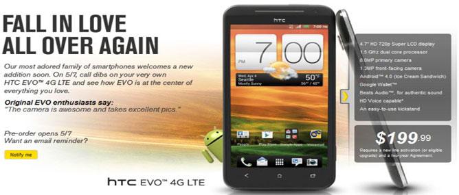 HTC EVO 4G LTE bán vào ngày 18/5 ở Mỹ