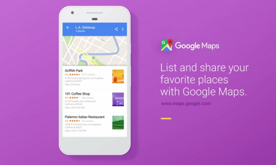 Google Maps di động bổ sung tính năng chia sẻ danh sách địa điểm