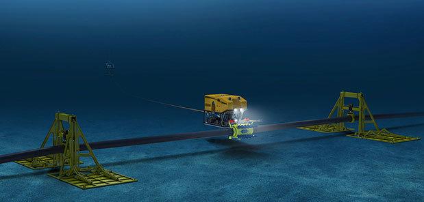 Robot đang khắc phục sự cố cáp quang biển. Ảnh minh họa