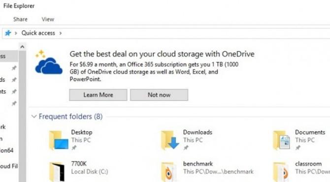 Microsoft thử nghiệm đặt quảng cáo trong Windows 10 File Explorer