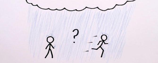 Khi gặp mưa, đi bộ hay chạy nhanh thì đỡ bị ướt?