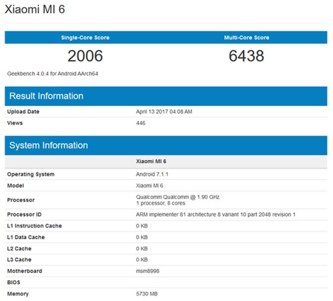 Xiaomi Mi 6 bất ngờ lộ điểm benchmark cao hơn cả Galaxy S8