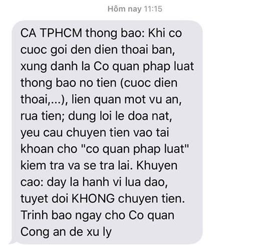Công an TP.HCM liên tục nhắn tin cảnh báo lừa đảo