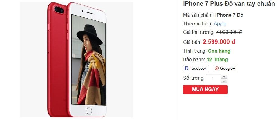 Dân buôn dùng chiêu giảm giá ảo câu khách mua iPhone 7 Plus RED nhái