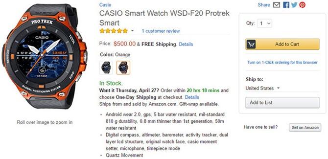Smartwatch Casio Pro Trek F20 chính thức lên kệ, giá 500 USD