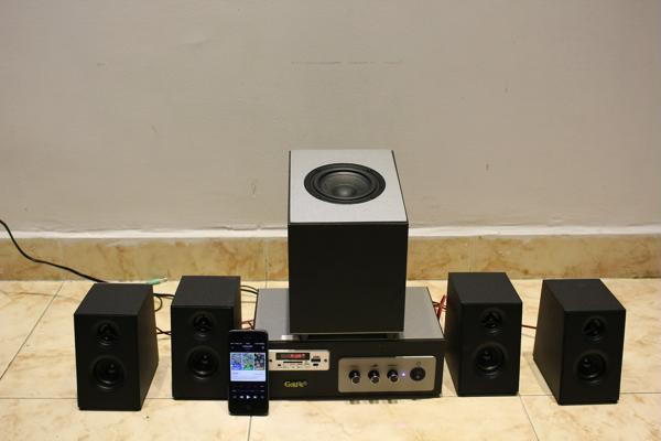 GoldSound giới thiệu bộ dàn âm thanh Bluetooth W80: ampli, 4 loa + 1 loa trầm, giá 1,7 triệu đồng