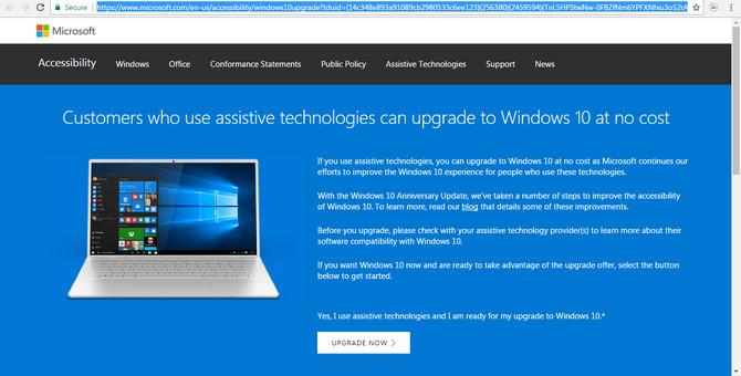Microsoft miễn phí nâng cấp lên Windows 10 Pro cho người khuyết tật