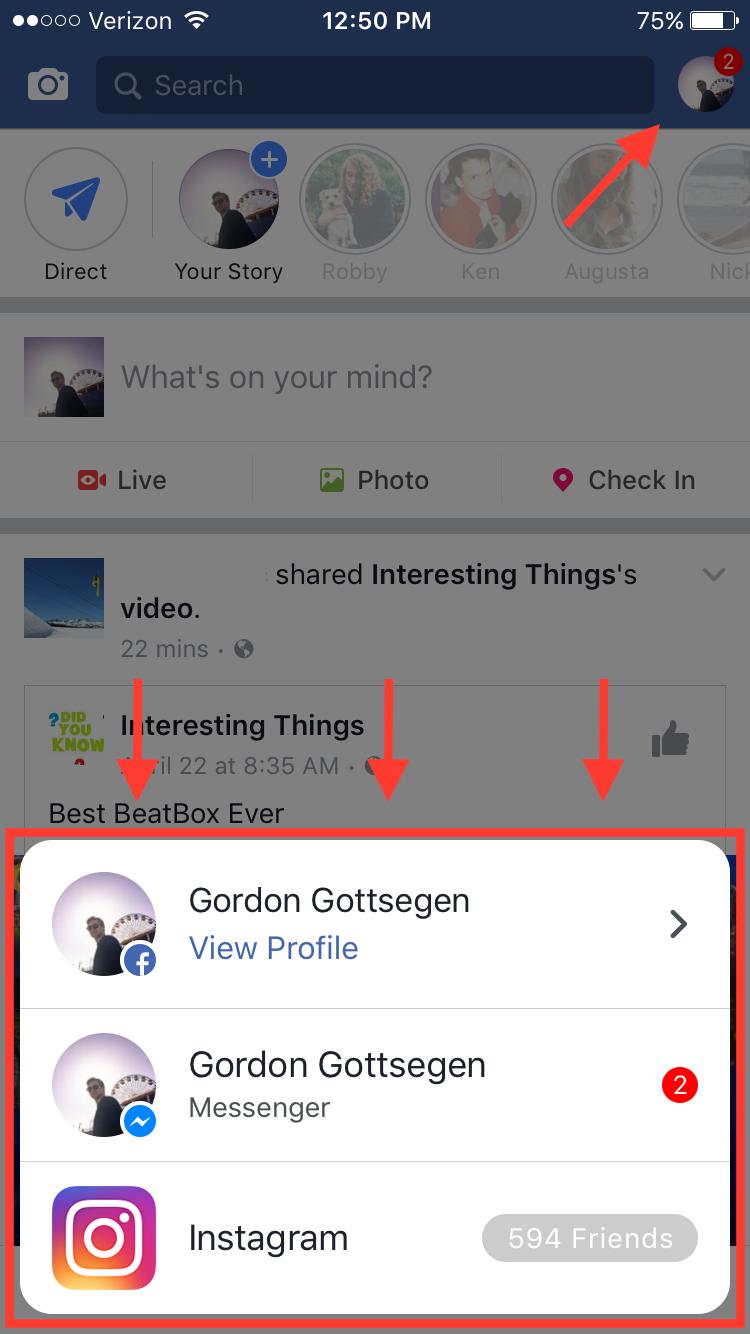 Facebook cho phép hiển thị thông báo Messenger và Instagram
