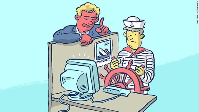 Tạm biệt đại dương, chỗ làm việc tiếp theo của thủy thủ là trong văn phòng