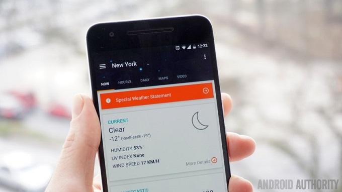 Ứng dụng thời tiết AccuWeather chính thức có mặt trên TV Android