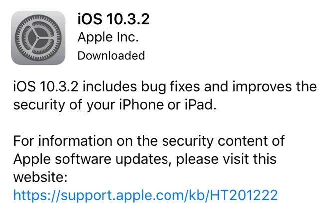Apple phát hành iOS 10.3.2 để vá lỗi nhưng vẫn hao pin