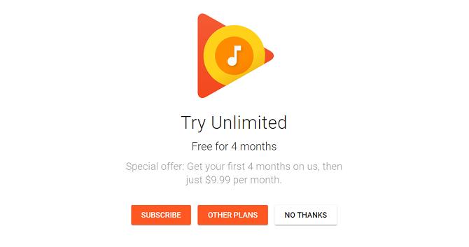 Google cho nghe thử Play Music trong 4 tháng