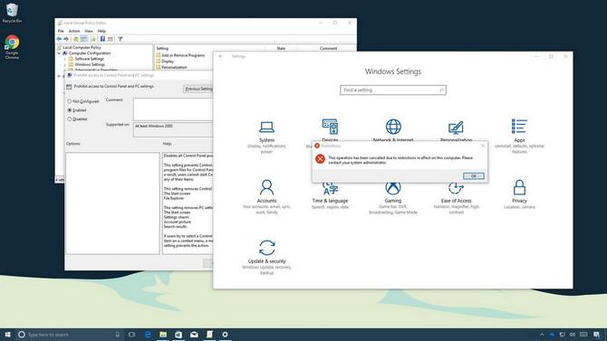 Cách chặn truy cập Settings và Control Panel trên Windows 10