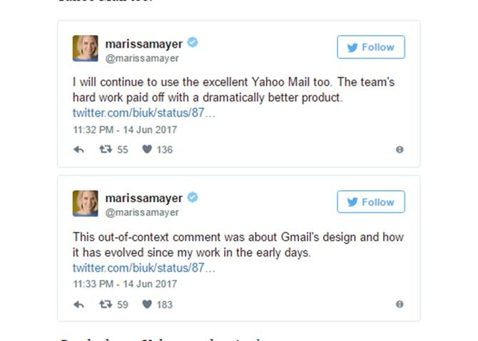 Cựu CEO Yahoo quay lại dùng... Gmail