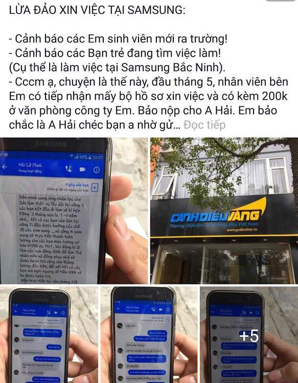 Samsung Việt Nam xác nhận thông tin nhiều tổ chức lừa đảo chạy việc vào Công ty
