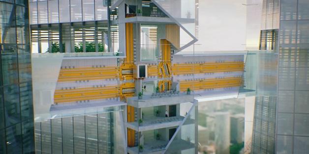 Thang máy tương lai có thể đi lên, đi xuống, đi ngang không cần cáp