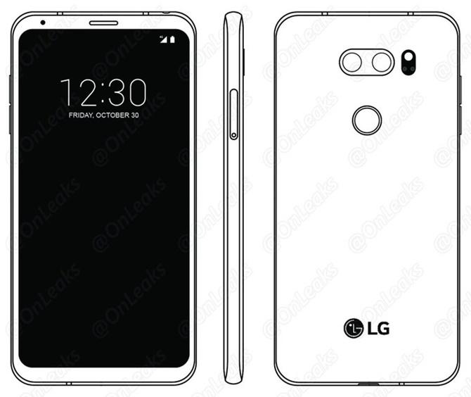 Rò rỉ bản vẽ kỹ thuật của LG V30: có camera kép, không thấy màn hình phụ