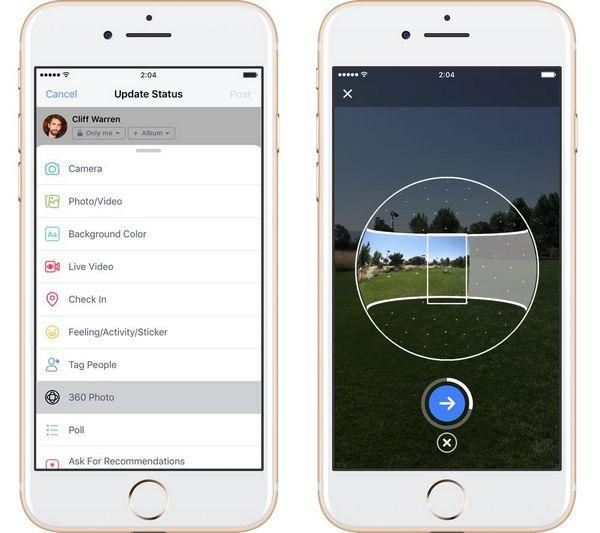 Facebook cho phép chụp ảnh 360 độ trên ứng dụng di động - www.TAICHINH2A.COM