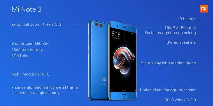 Thông số và cấu hình chính thức của Xiaomi Mi Note 3 - 204277