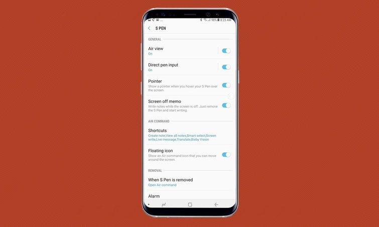 Thiết lập cài đặt bút spen cho Samsung Note 8