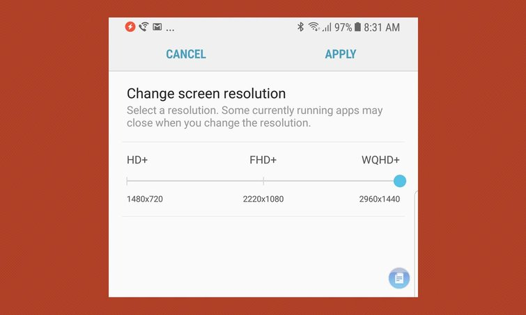 Thiết lập độ phân giải màn hình cho Note 8