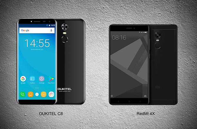 Đặt Oukitel C8 và Xiaomi Redmi 4X lên bàn cân