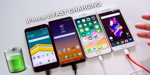 Đọ khả năng sạc nhanh của iPhone 8 Plus với Note 8, HTC U11, OnePlus 5