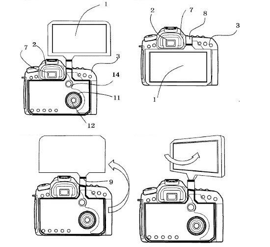 Canon đăng ký bằng sáng chế về màn hình lật khổng lồ trên DSLR