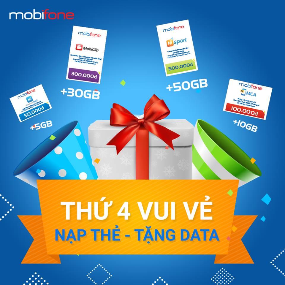 """""""Thứ Tư vui vẻ"""": nạp thẻ MobiFone vào thứ tư, được tặng từ 5-50GB dữ liệu"""
