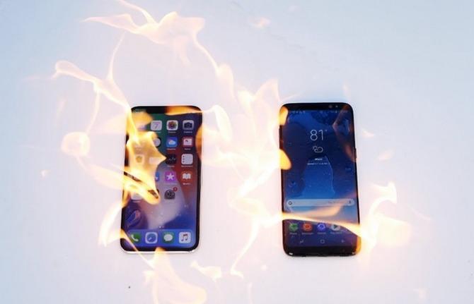 Thử nghiệm đốt cháy iPhone X và Galaxy S8: Samsung bất ngờ thất thế - ảnh 1