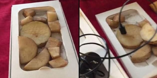"""Dính quả lừa Black Friday: """"đập hộp"""" iPhone 6 chỉ thấy khoai tây cắt nhỏ và một cục sạc Android"""