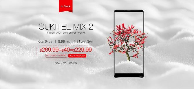 Đặt Oukitel Mix 2 cạnh Xiaomi Mix 2 để so sánh thiêt kế và hiệu năng
