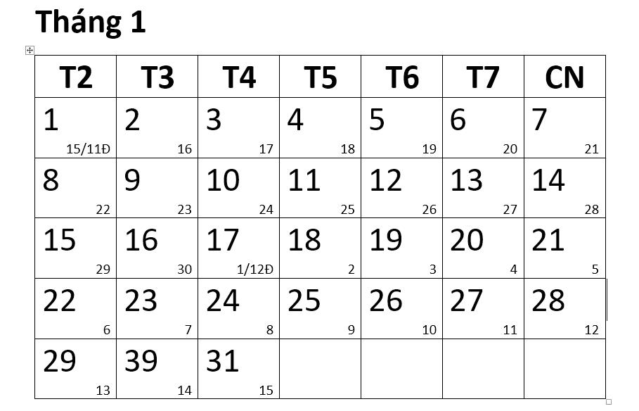 Hướng dẫn tạo lịch năm mới trên Word