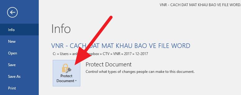 Cách đặt mật khẩu bảo về file Word, Excel và PowerPoint