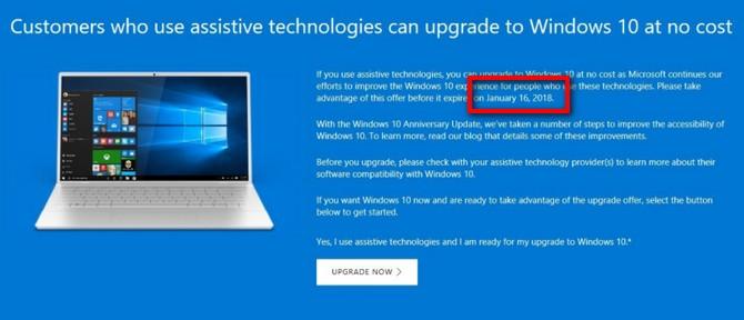 Microsoft dừng cập nhật miễn phí lên Windows 10 vào ngày 16/1