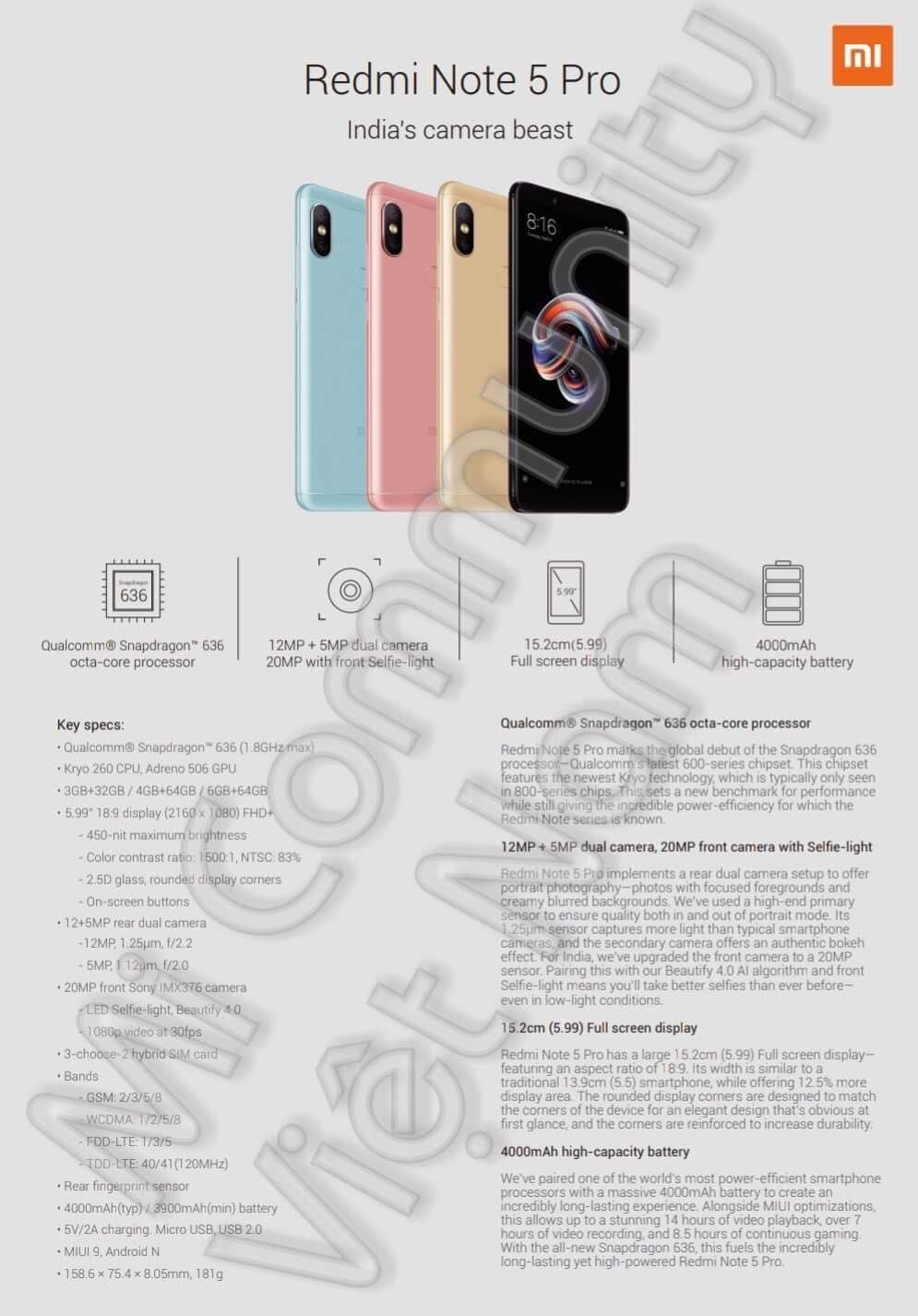 Xiaomi Redmi Note 5 và Note 5 Pro lộ sạch cấu hình trước ngày ra mắt - ảnh 1