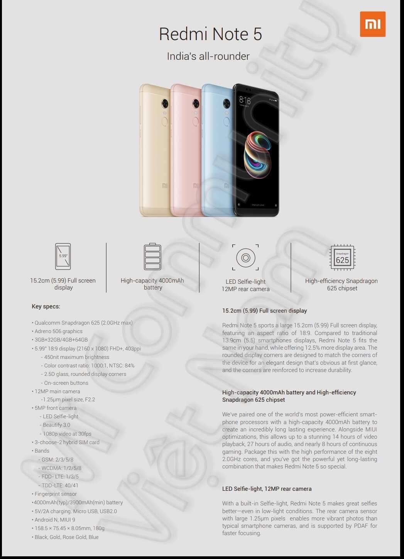 Xiaomi Redmi Note 5 và Note 5 Pro lộ sạch cấu hình trước ngày ra mắt - ảnh 2