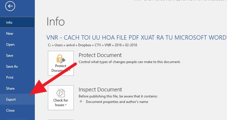 Cách tối ưu, giảm dung lượng file PDF xuất ra từ Microsoft Word
