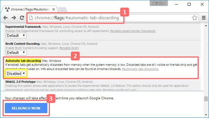 Cách chặn Google Chrome tự động tải lại tab cũ đã bật trước đó