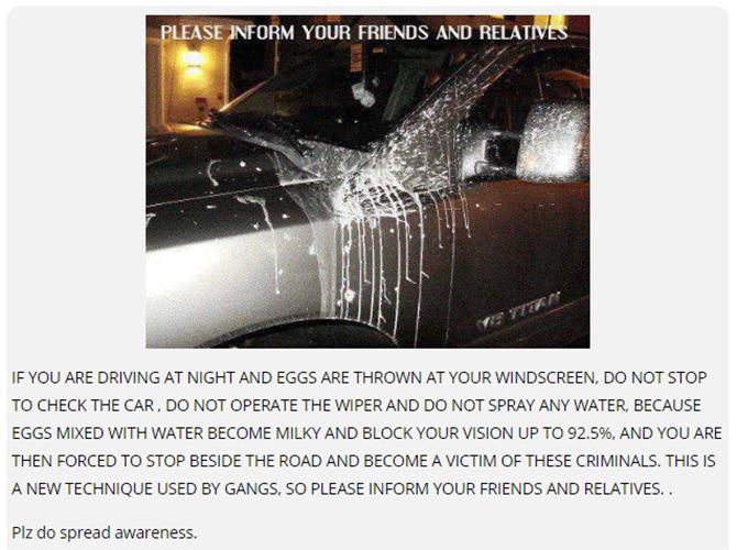 """Tin giả """"ném trứng vào xe hơi"""" thực ra được dịch từ tin giả nguồn tiếng Anh, đã có trên mạng từ 2009"""